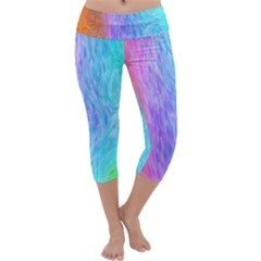 Abstract Color Pattern Textures Colouring Capri Yoga Leggings