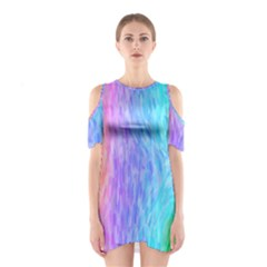 Abstract Color Pattern Textures Colouring Shoulder Cutout One Piece
