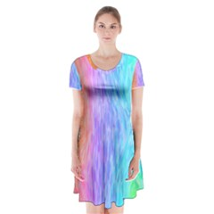 Abstract Color Pattern Textures Colouring Short Sleeve V-neck Flare Dress