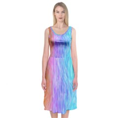 Abstract Color Pattern Textures Colouring Midi Sleeveless Dress