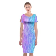 Abstract Color Pattern Textures Colouring Classic Short Sleeve Midi Dress