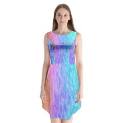 Abstract Color Pattern Textures Colouring Sleeveless Chiffon Dress