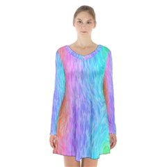 Abstract Color Pattern Textures Colouring Long Sleeve Velvet V Neck Dress
