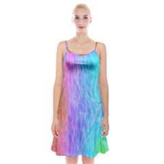 Abstract Color Pattern Textures Colouring Spaghetti Strap Velvet Dress