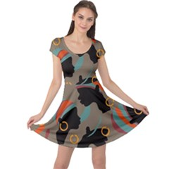 African Women Ethnic Pattern Cap Sleeve Dresses
