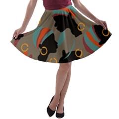 African Women Ethnic Pattern A-line Skater Skirt
