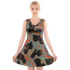 African Women Ethnic Pattern V Neck Sleeveless Skater Dress