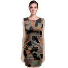 African Women Ethnic Pattern Classic Sleeveless Midi Dress