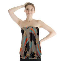 African Women Ethnic Pattern Strapless Top