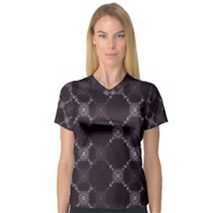 Abstract Seamless Pattern Women s V-Neck Sport Mesh Tee