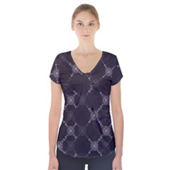 Abstract Seamless Pattern Short Sleeve Front Detail Top