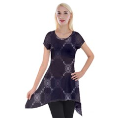 Abstract Seamless Pattern Short Sleeve Side Drop Tunic