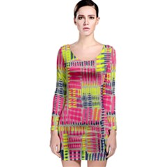 Abstract Pattern Long Sleeve Bodycon Dress