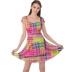 Abstract Pattern Cap Sleeve Dresses