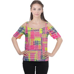 Abstract Pattern Women s Cutout Shoulder Tee