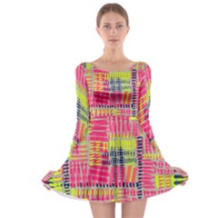 Abstract Pattern Long Sleeve Skater Dress