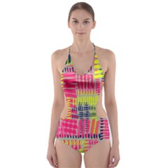 Abstract Pattern Cut-Out One Piece Swimsuit