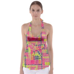 Abstract Pattern Babydoll Tankini Top