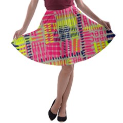 Abstract Pattern A Line Skater Skirt
