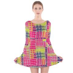 Abstract Pattern Long Sleeve Velvet Skater Dress