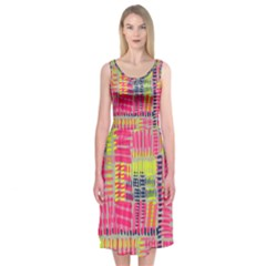 Abstract Pattern Midi Sleeveless Dress