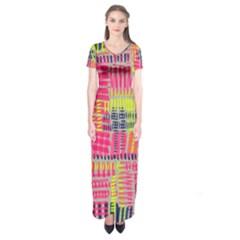 Abstract Pattern Short Sleeve Maxi Dress