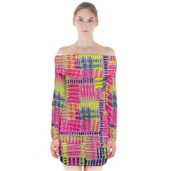 Abstract Pattern Long Sleeve Off Shoulder Dress