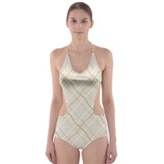 Background Pattern Cut-Out One Piece Swimsuit