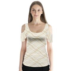 Background Pattern Butterfly Sleeve Cutout Tee
