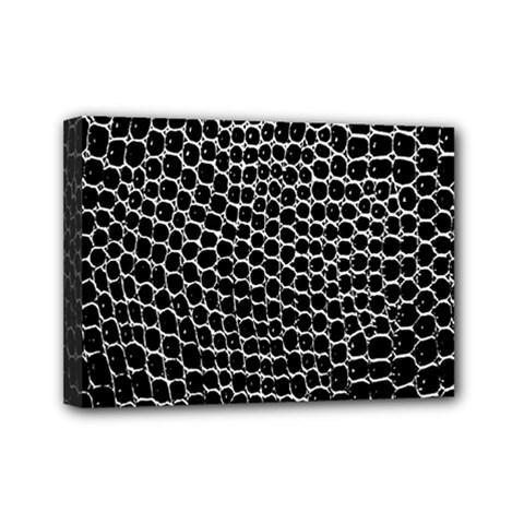 Black White Crocodile Background Mini Canvas 7  x 5