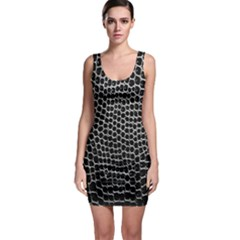 Black White Crocodile Background Sleeveless Bodycon Dress
