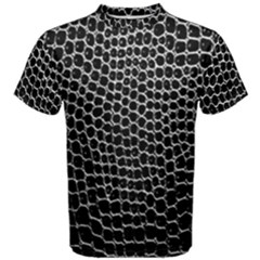 Black White Crocodile Background Men s Cotton Tee