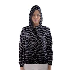 Black White Crocodile Background Hooded Wind Breaker (Women)