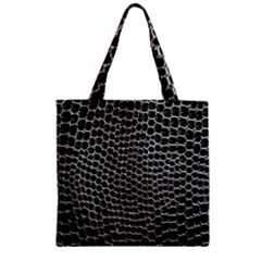 Black White Crocodile Background Zipper Grocery Tote Bag