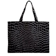 Black White Crocodile Background Zipper Mini Tote Bag