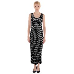 Black White Crocodile Background Fitted Maxi Dress