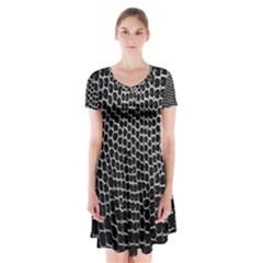 Black White Crocodile Background Short Sleeve V Neck Flare Dress