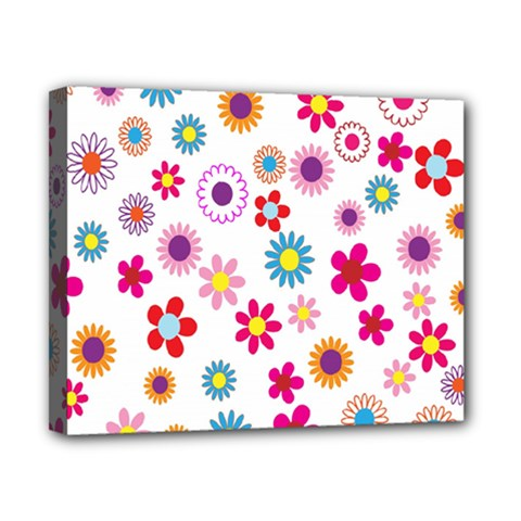Colorful Floral Flowers Pattern Canvas 10  x 8