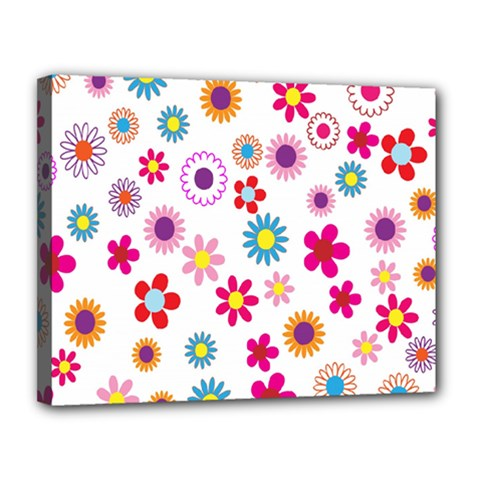 Colorful Floral Flowers Pattern Canvas 14  x 11