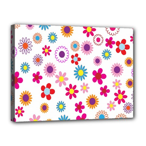 Colorful Floral Flowers Pattern Canvas 16  X 12