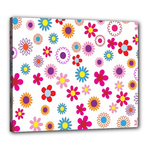 Colorful Floral Flowers Pattern Canvas 24  x 20