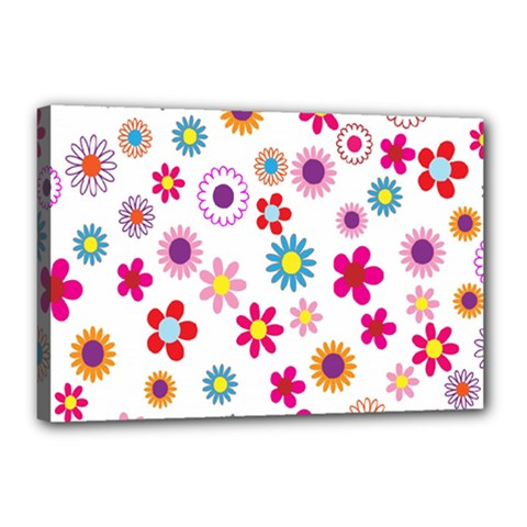 Colorful Floral Flowers Pattern Canvas 18  X 12