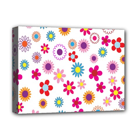 Colorful Floral Flowers Pattern Deluxe Canvas 16  x 12