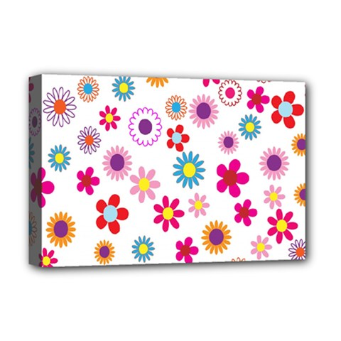Colorful Floral Flowers Pattern Deluxe Canvas 18  x 12