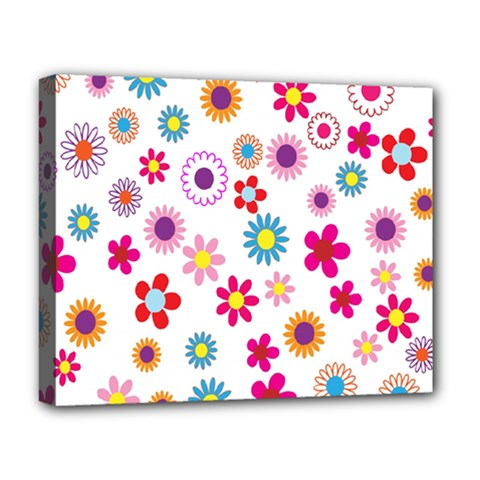 Colorful Floral Flowers Pattern Deluxe Canvas 20  x 16