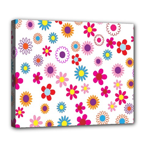 Colorful Floral Flowers Pattern Deluxe Canvas 24  x 20