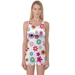 Colorful Floral Flowers Pattern One Piece Boyleg Swimsuit