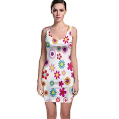 Colorful Floral Flowers Pattern Sleeveless Bodycon Dress