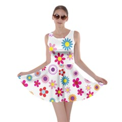 Colorful Floral Flowers Pattern Skater Dress
