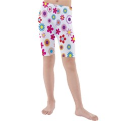 Colorful Floral Flowers Pattern Kids  Mid Length Swim Shorts